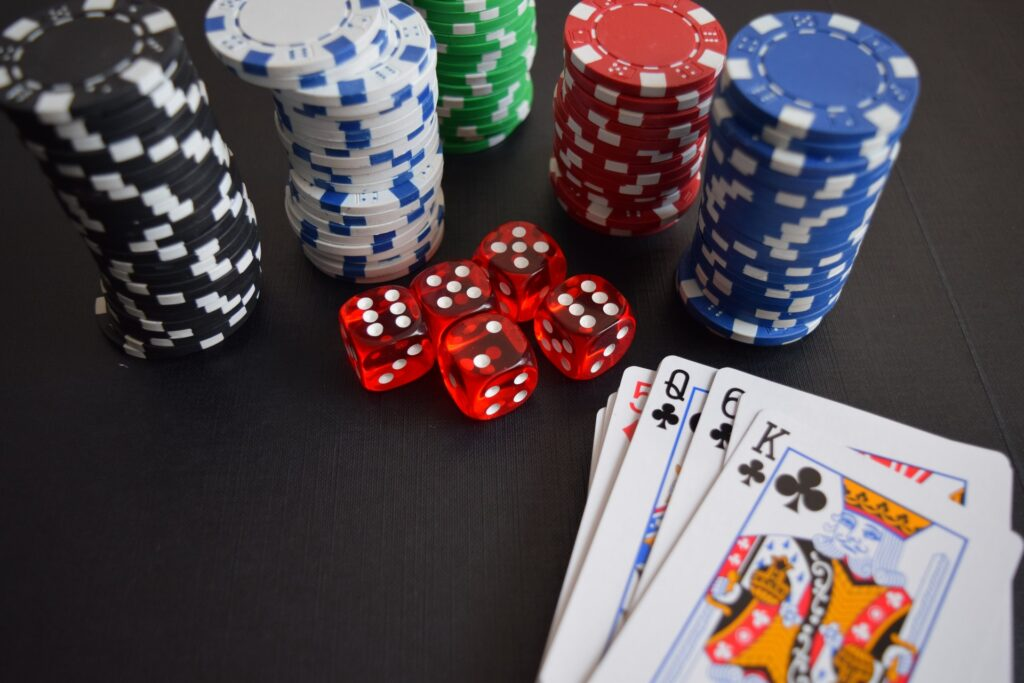 Playing Card and Poker Chips and Dices